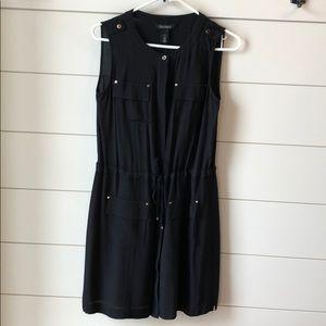 White House Black Market Black Button Down Dress